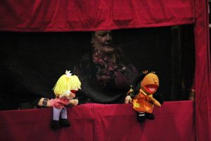 Photograph of a performance by the Puppet Ministry Committee